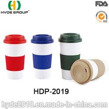 Taza de café plástica respetuosa del medio ambiente libre de la pared de BPA (HDP-2019)