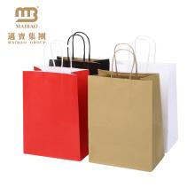 Eco Frindly Geschenk Shopping Benutzerdefinierte Farbe Rot / Schwarz / Braun / Weiß Plain Kraftpapier Taschen mit Griffen
