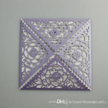 Hohle Blumen-quadratische romantische Hochzeits-Einladungs-Karte 2016 Neue Ankunfts-Laser-Schnitt-Postkarte für Partei-Versorgungsmaterial-freies Drucken ML278