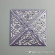 Cartão vazio do convite do casamento do quadrado da flor oca 2016 Cartão novo do corte do laser da chegada para a fonte do partido Impressão livre ML278