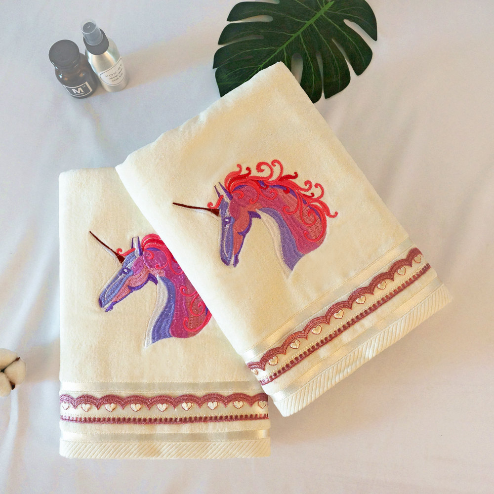 Embroidery unicorn cotton towel