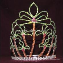 Corona de encargo del rhinestone de la tiara de la palma de coco del verano