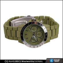 Pulsera verde del ejército Tachymeter del reloj del mens del cuarzo de Japón, mens del reloj del cronógrafo