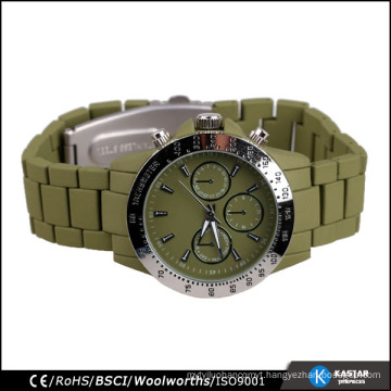 army green bracelet Japan quartz mens watch tachymeter, chronograph watch mens