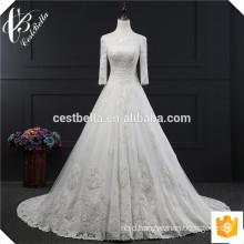 Alibaba wedding dress with long trail stylish princess wedding dress lastest elegant handmade white wedding dress