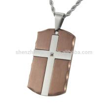 Nouveau design en acier inoxydable Pendentifs en chocolat avec une croix en acier CNC pierre noire