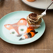 fox design porcelain dessert plate