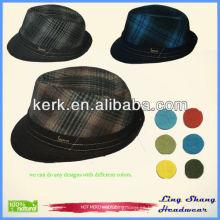 Sombrero de sombrero de la tela escocesa de la tela escocesa de la vendimia del sombrero de vaquero del acoplamiento de la rejilla de los sombreros de la rejilla de los hombres baratos de la buena calidad, RH-09