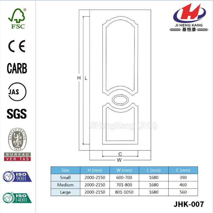 Classical White Primer HDF  Door Skin
