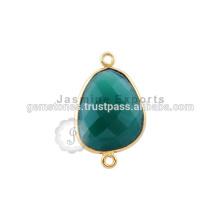 Natürlicher grüner Onyx Edelstein-Lünette-Verbindungsstück, Großhandelsvermeil Gold überzogene Edelstein-Lünette Verbinder