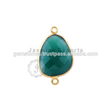 Natural Green Onyx Gemstone Bezel Connector, Venda por atacado Vermeil Gold Plated Gemstone Bezel conectores