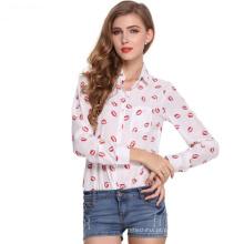 2017 hot venda blusa encabeça mulheres lapela design de mangas compridas impressão chiffon senhora blusa