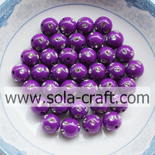 High Quality for Resin Rhinestone Beads Hot Sale Reddish-purple Color Plastic Round Diamond-studded Beads 5MM supply to Gibraltar Supplier