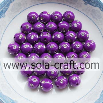 Venta caliente Reddish-purple Color Plastic Round Diamond-studded Beads 5MM