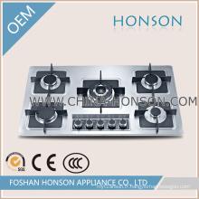 Réchaud à gaz de cuiseur de gaz de 5 brûleurs d'acier inoxydable HS5816