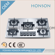 86cm Stainless Steel Panel with Cast Iron Pan Support Gas Hobs