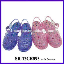 SR-13CR095 with flower (2). kids jelly sandals girls jelly sandals plastic sandals children wholesale jelly sandals