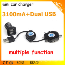 Best Design Mini Charger for Car/ Dual USB Car Charger for Smartphones/ 3,1A Car Charger