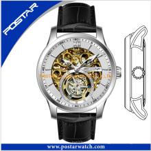 ОЕМ скелет автоматические часы с Кожаный ремешок