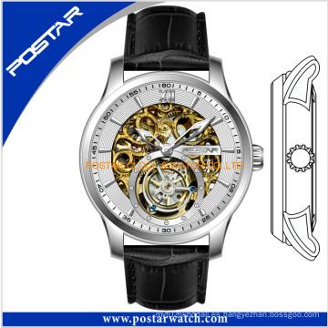 Reloj automático esqueleto OEM con correa de cuero genuino