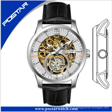 Relógio automático de esqueleto do OEM com faixa de couro genuíno