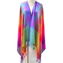 Мода красочные тканые пряжи, окрашенной жаккардовые шарф