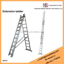 Aluminium 3-section extension combination ladder, industrial ladder