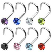 Nose Screw Stainless Steel Prong Set CZ