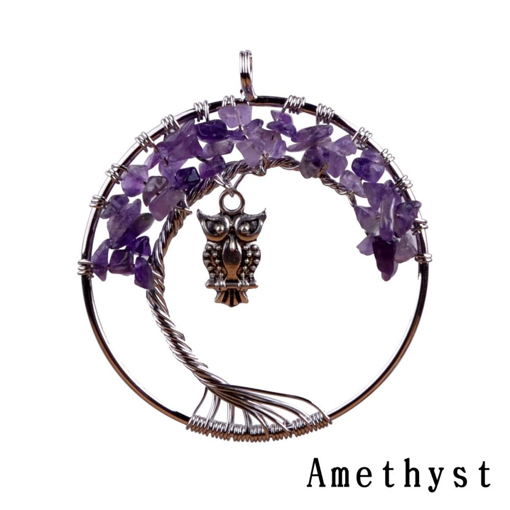 Amethyst Tumbled Stone Owl Tree Pendant Necklace