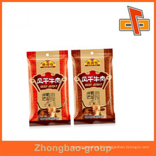Plastic material laminated custom beef jerky packaging bags