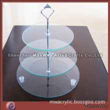 Clear Round Promotional Acrylic 3 Tiers Tower Birthday Party Cup Cake Display Stand Rack