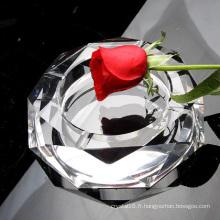Cendrier clair de cigare en verre d'octogone en cristal pour la décoration de bureau