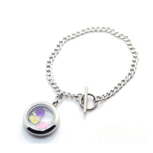 Kubanischer Edelstahl magnetische flache Sterling Silber Armband Schmuck
