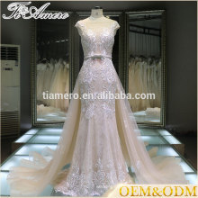 2016 Guangzhou factory real sample Tiamero sweetheart cap sleeve floor-length elegant wedding dress