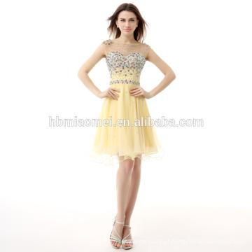 2017 mais recente moda luz mulheres amarelas curto vestido de noite