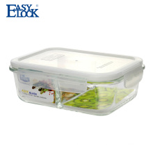 Two Compartment Airtight Clear Glass Food Container with Lids