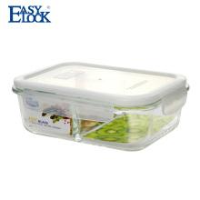 Recipiente de alimento de vidro claro hermético de dois compartimentos com tampas