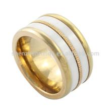 Atacado de ouro IP de cerâmica anel de casamento Bands Homens de aço inoxidável Anéis Jóias