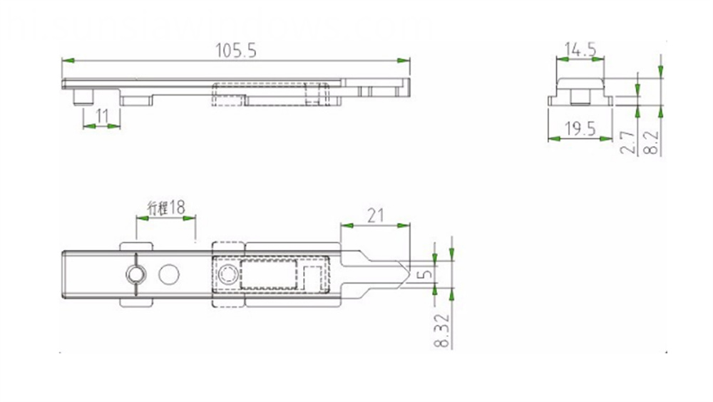 Shoot Bolt for Aluminum Window,Aluminum Hardware Drawing