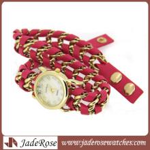 Charm Chain Geflochtene rote Leder Lady Quarzuhr