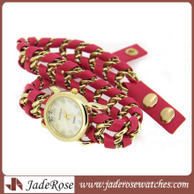 Charm Chain Braided Red Leather Lady Quartz Watch