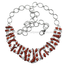 Coral Gemstone 925 Solid Silver Necklace Jewelry