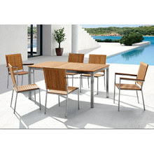 Outdoor Stainless Steel Teak Patio Dining Set