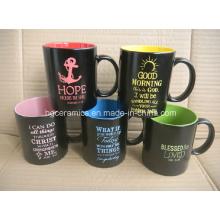 Sprühfarbe Becher. Keramik Becher mit Farbspray, Spray Becher mit Laser Logo