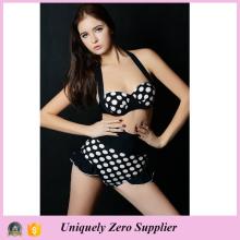 2016 Hot Sale Sexy Mulheres Black Background White Dots Prints Tankini Bikini com calças de cintura alta