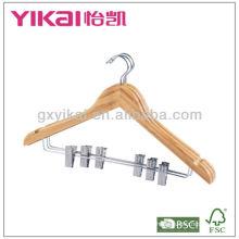 Conjunto de cabide de bambu plano da camisa 3pcs com entalhes de U