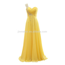 Fashion One Shoulder Chiffon Long Prom Dresses 2016 Free Shipping Lace-up Back Crystals Evening Gowns Robe De Soiree