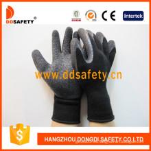Guantes de algodón con revestimiento de látex negro. Acabado arrugado (DKL339)
