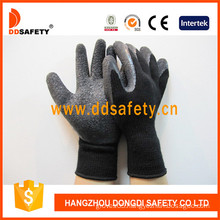 Black Latex Coating Cotton Gloves. Crinkle Finish (DKL339)