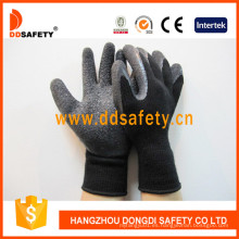 Guante de revestimiento de látex negro Guantes de trabajo de seguridad con forro cepillado Dkl339